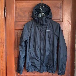 Columbia black raincoat with hood size small